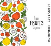fruits collection. hand drawn...   Shutterstock .eps vector #1991720579
