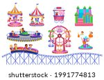theme park set with electric... | Shutterstock .eps vector #1991774813