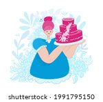a confectioner woman holds a... | Shutterstock .eps vector #1991795150