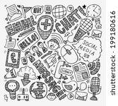 doodle communication background | Shutterstock .eps vector #199180616