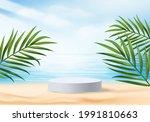 3d summer background product... | Shutterstock .eps vector #1991810663