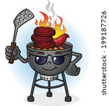 barbecue grill cartoon... | Shutterstock .eps vector #199187726