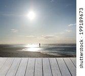 landscape of a wooden jetty...   Shutterstock . vector #199189673