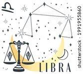 zodiac sign libra in boho style.... | Shutterstock .eps vector #1991955860