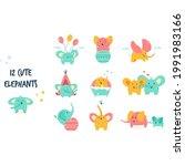 elements cute little elephants... | Shutterstock .eps vector #1991983166