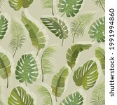 vector pattern with palm leaves....   Shutterstock .eps vector #1991994860