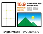 16 by 9 monitor screen aspect... | Shutterstock .eps vector #1992004379