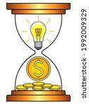 an hourglass with a light bulb... | Shutterstock .eps vector #1992009329