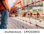 orange construction site net... | Shutterstock . vector #199202843