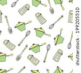 seamless cute pattern with... | Shutterstock .eps vector #199205510