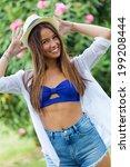 outdoor portrait of pretty...   Shutterstock . vector #199208444