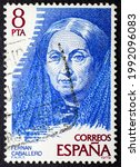 Small photo of MADRID, SPAIN - JUNE 15, 2021. Vintage stamp printed in Spain shows Fernan Caballero (1796 - 1877), pseudonym adopted by the Spanish novelist Cecilia Francisca Josefa Bohl de Faber y Ruiz de Larrea