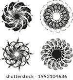 flowers or stars in black and... | Shutterstock .eps vector #1992104636