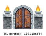 castle wooden gate  vector... | Shutterstock .eps vector #1992106559