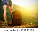 legs of a woman tourist and... | Shutterstock . vector #199211729