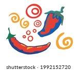 illustration of red hot peppers....   Shutterstock .eps vector #1992152720