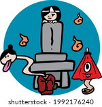 youkai gather around the grave | Shutterstock .eps vector #1992176240