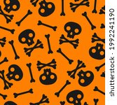 seamless pattern with skull and ...   Shutterstock .eps vector #1992241190