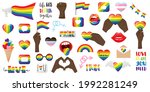 a large set of stickers on the...   Shutterstock .eps vector #1992281249