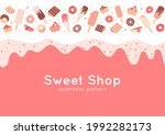 border with donuts  cupcakes ... | Shutterstock .eps vector #1992282173