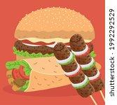 hamburger kebab and shawarma ... | Shutterstock .eps vector #1992292529