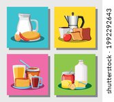 breakfast different menu fresh... | Shutterstock .eps vector #1992292643