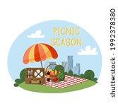 vector illustration of a park... | Shutterstock .eps vector #1992378380
