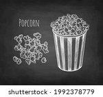 popcorn. chalk sketch on... | Shutterstock .eps vector #1992378779