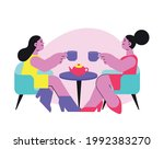 flat icon with women drinking... | Shutterstock .eps vector #1992383270