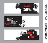 vector banner set black ink...   Shutterstock .eps vector #1992386333