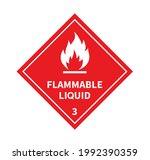 flammable liquid sign on white... | Shutterstock .eps vector #1992390359