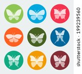 Stock vector vector colorful butterflies icons set 199239560