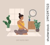 easy seated twist yoga pose.... | Shutterstock .eps vector #1992397523