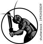 a cricket playing cricket logo...   Shutterstock .eps vector #1992435839