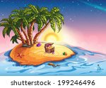 illustration island with palm...   Shutterstock .eps vector #199246496