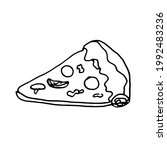 doodle hand drawn pizza.hand... | Shutterstock .eps vector #1992483236