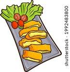 funny and yummy egg katsu  a... | Shutterstock .eps vector #1992483800