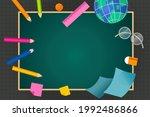 school supplies on blackboard ...   Shutterstock .eps vector #1992486866