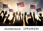 Silhouettes People Holding Flag Usa - Fine Art prints
