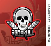 skull esport logo mascot red... | Shutterstock .eps vector #1992509999