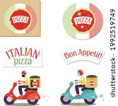pizza set with logo  box ... | Shutterstock .eps vector #1992519749