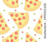 seamless pattern of cute pizza | Shutterstock .eps vector #1992521120