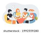children eating breakfast ... | Shutterstock .eps vector #1992559280