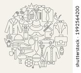 father day line icons circle.... | Shutterstock .eps vector #1992564200