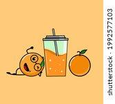set lemonade and lemon  fruit... | Shutterstock .eps vector #1992577103