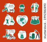 set of the stickers on the... | Shutterstock .eps vector #1992582890