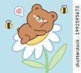 cute bear sleep on flower with...   Shutterstock .eps vector #1992595673