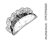 hand drawn mexican tacos.... | Shutterstock .eps vector #1992596060