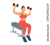 a faceless woman works out at... | Shutterstock .eps vector #1992596219