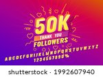 thank you 50k follower font set ... | Shutterstock .eps vector #1992607940